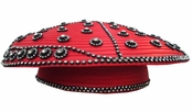 Ladies Designer Church Hat in Red and Black with Rhinestones H10007