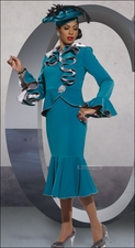 Ladies Designer High Fashion Special Occasion Teal Suit by Donna Vinci 11255