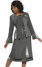 Ladies Designer Mix Media Fabrics Suit by Donna Vinci in Multigrey Color 5441