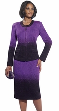 Ladies Elegant High Fashion Knit Suit in Purple with Rhinestones 15088
