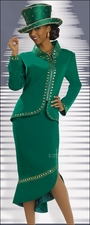 Ladies Elegant High Fashion Emerald Green Suit by Donna Vinci 11252