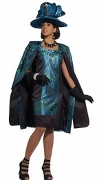 Ladies Elegant High Fashion Peacock Novelty Jaquard Dress and Jacket 5430