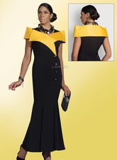 Ladies Elegant Long Black and Gold Dress by Designer Donna Vinci 11203