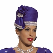 Ladies Elegant Satin Violet Hat with Side Bow and Rhinestones H2136