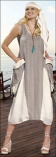 Ladies Exclusive Embroidered Dress in Taupe from Donna by Donna Vinci 14127