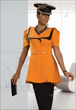 Ladies Exclusive Spring Suit in Tangerine and Black by Donna Vinci 11206