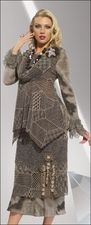 Ladies Fashion Sweater Knit Set in Brown and Olive Mix Love The Queen 17098
