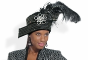 Ladies Feathered Fashionable Church Hat H1442