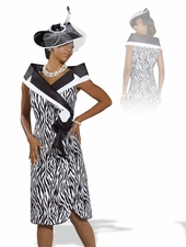 Ladies High Fashion Church Zebra Print Dress 11302