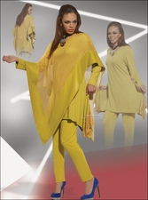 Ladies High Fashion Designer Love The Queen Mesh Poncho in Mustard Gold 17111