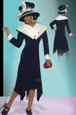 Ladies High Fashion Designer Navy and Ivory Suit by Donna Vinci 11229