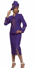 Ladies High Fashion Designer Violet Suit by Donna Vinci Holiday 11214