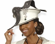 Ladies High Fashion Ivory and Black Church Hat H1484