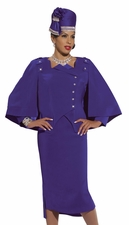 Ladies High Fashion Special Event Violet Holiday Suit by Donna Vinci 11232