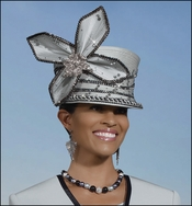 Ladies High Fashion Special Occasion Silver Hat by Donna Vinci H1431