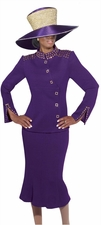 Ladies Holiday Special Occasion Knit Purple Suit by Donna Vinci 2943