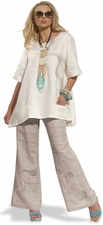 Ladies Linen Embroidered Mesh Tunic Pant Set  14168