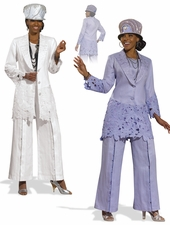 Ladies Linen Pant Suit by Donna Vinci 11296