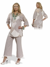 Ladies Mixed Media Tunic and Pant Set from Donna 14176