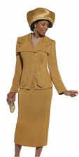 Mother Of The Groom Church Knit Suit in Mustard by Donna Vinci 2954
