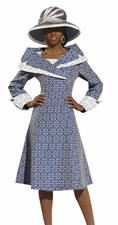 Ladies Novelty Embroidery Fashion Church Dress By Donna Vinci 11281