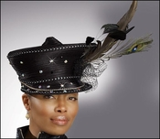 Ladies Pretty Black Satin Hat with Feathers H1377