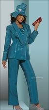 Ladies Silk Look Designer  Pant Suit in Seaport Color from Donna Vinci 11261