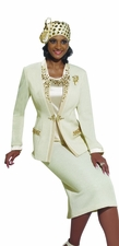Ladies Special Occasion Gold Jeweled Beige Suit by Donna Vinci 2961