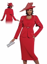 Ladies Special Occasion Holiday Red Church Suit by Donna Vinci 2947