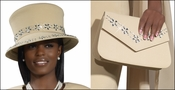 Ladies Special Occasion Sparkling Tan Hat and Purse Combo HP3223