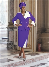 Ladies Suit, Womens Purple and Off-White Donna Vinci Suit 11208