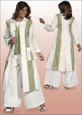 Ladies Summer Linen Blend Pant Suit in White and Celery by Donna Vinci 11211