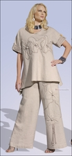 Ladies Summer Plazzo Pant Set in Natural Color from Donna by Donna Vinci 14118
