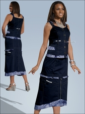 Ladies Summer Tye Dye and Navy Set from Donna by Donna Vinci 14133