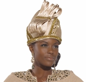 Ladies Tan Church Hat with Rhinestone Trim H1479