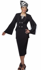 Ladies Unique Styling Fashion 2 Piece Suit from Donna Vinci in Black 11233
