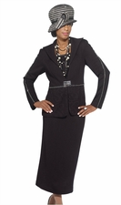 Ladies Year Round Sophisticated Knit Suit by Donna Vinci in Black 2953