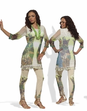 Love The Queen Mix Media Print 2 Piece Tunic Set 17140