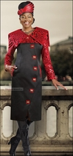 Lovely Dress in Black and Red with Bold Animal Print from Donna Vinci 5399
