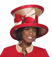 Lovely Ladies Tan and Red Church Hat by Donna Vinci H2132