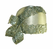 Lovely Satin Ladies Hat with Beads and Applique in Sage H10020