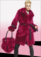 Magenta High Quality Faux Fur and Bag from Donna 14151