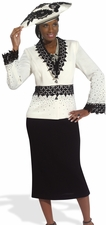 Women's Make a Statement Ivory & Black Church Knit Suit 2977