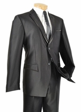 Men's 2 Button Sharkskin Slim Fit Suit (R1212)