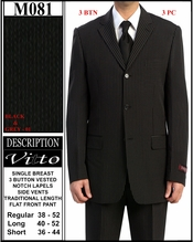 Men's 3 Button Black with Grey Pinstripe Suit (M081)
