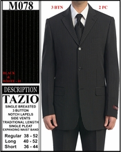 Men's Black with White Pinstripe Suit (M078)
