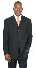 Men's Business, Formal, Occasion Solid Black Baroni Italian Suit