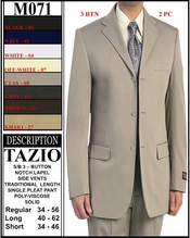 Men's Designer 3 Button Solid Suit (M071)