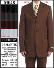 Men's Designer Suit, Father Of The Bride Tonal Stripe Suit (M048)