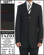 Mens Single Breasted Solid Suit (M077)